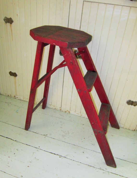 Antique Folding Ladder Red Painted Wood Step Stool By