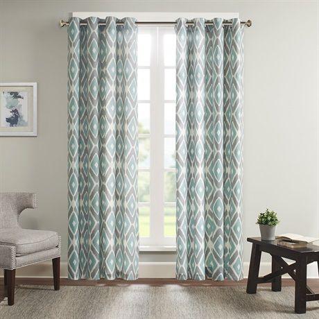 Ashlin Diamond Printed Window Curtain Printed Curtains Panel