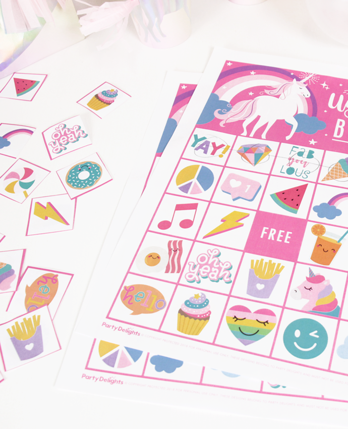 Free Printable Unicorn Bingo Party Delights Blog Unicorn Printables Unicorn Games Unicorn Party