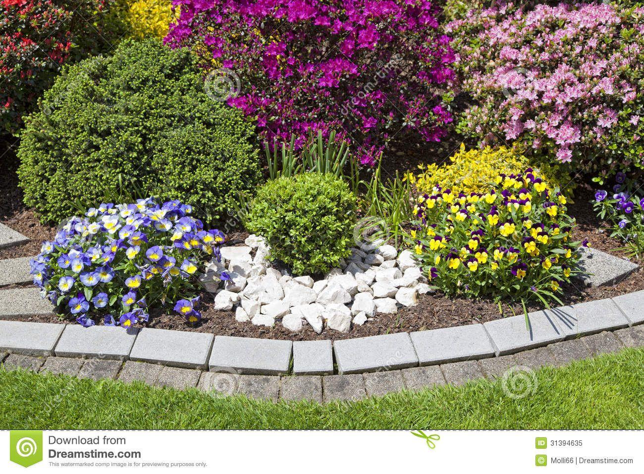 Colorful landscaped flower garden beautiful blooming seasonal flowers neatly arranged bed - Beautiful flower bed ideas ...
