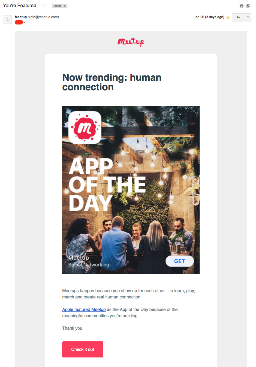 """Meetup email, subject line """"you're featured"""" App of the"""