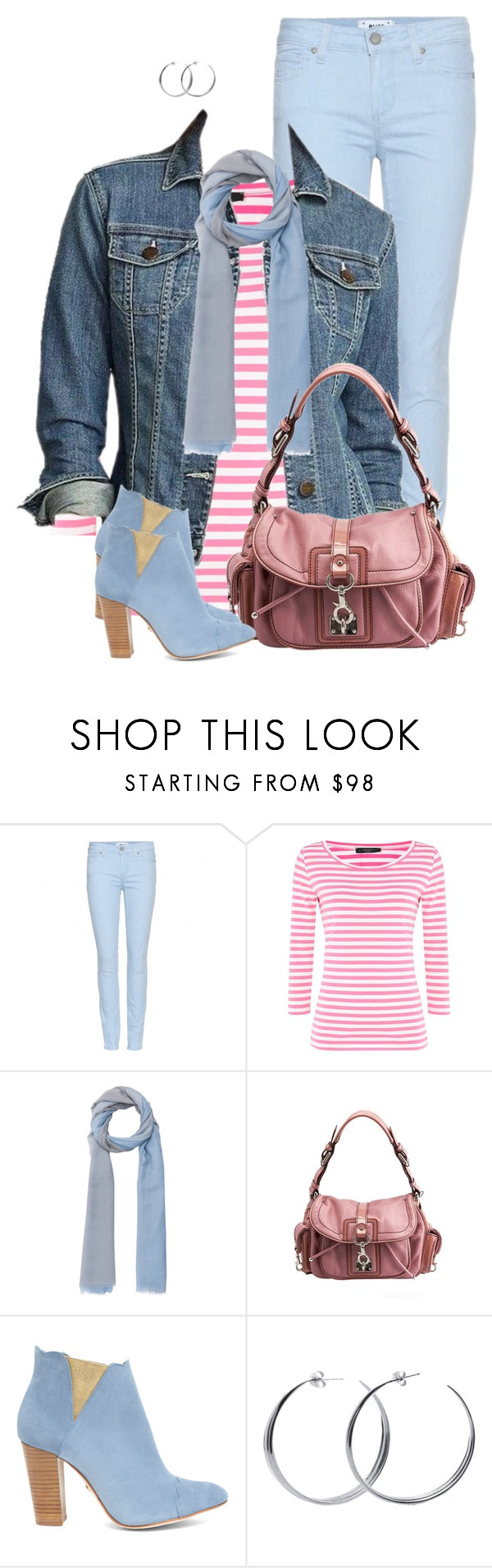 """""""Pink and Blue"""" by daiscat ❤ liked on Polyvore featuring Paige Denim, Weekend Max Mara, Eddie Bauer, Marc Jacobs, Cleo B, Coco's Liberty, women's clothing, women's fashion, women and female"""