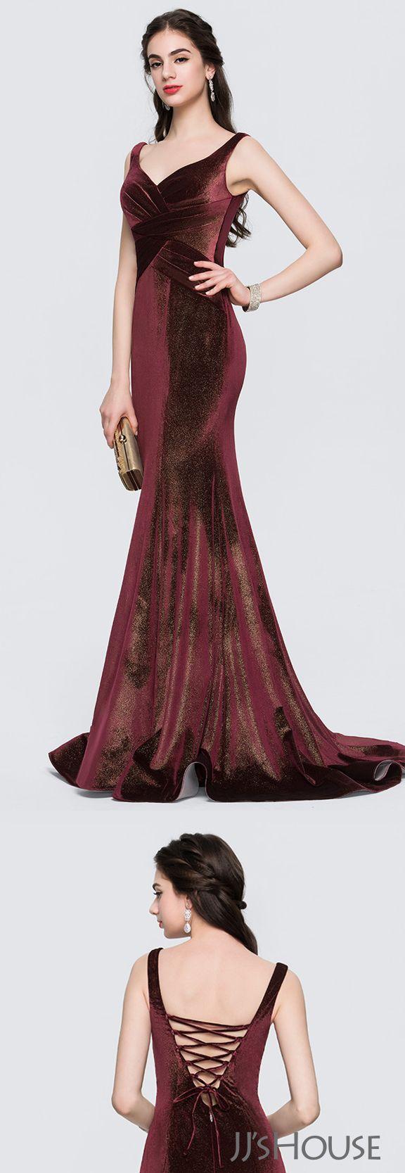 Trumpetmermaid vneck sweep train velvet prom dresses with ruffle