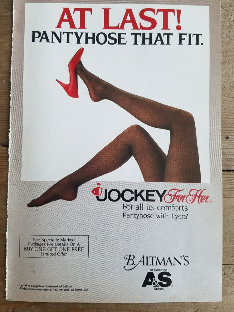 613a1d0f42215 1988 Jockey women's pantyhose with Lycra Hosiery stockings for her legs ad
