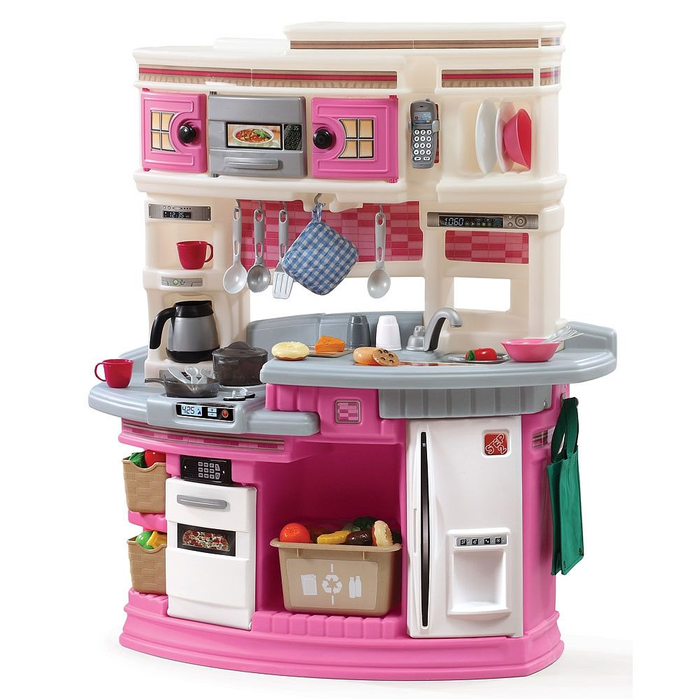 Pink play kitchen set 36 pink white wood pretend play for Kitchen set pictures
