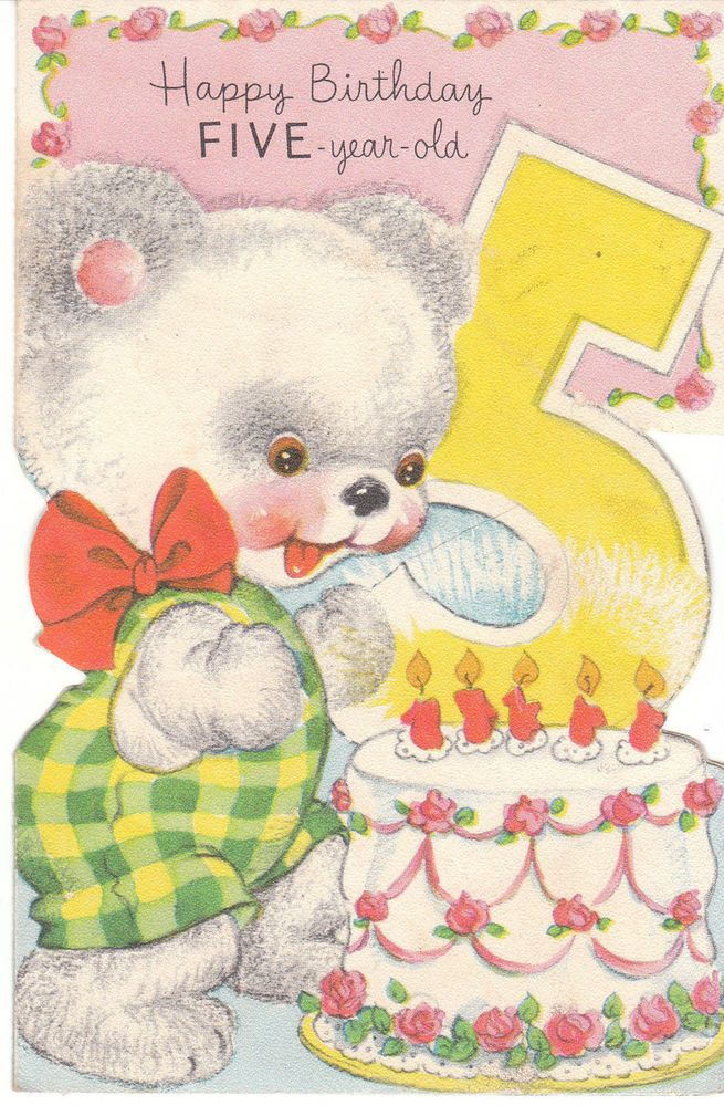 Vintage Birthday Card For A 5 Year Old Child