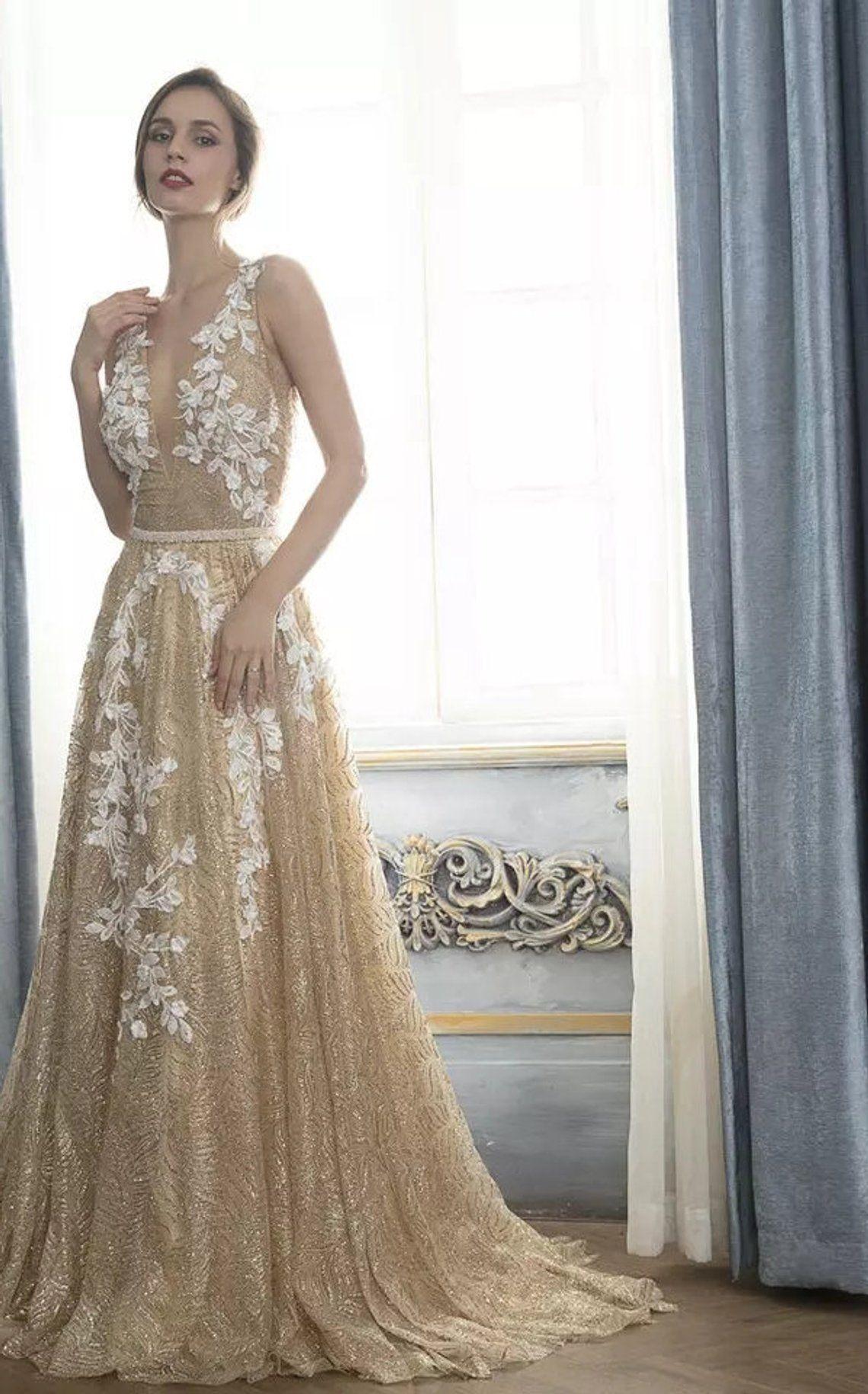 Calliste Bride Gold Boho Wedding Dress Boho Dress Luxury Etsy
