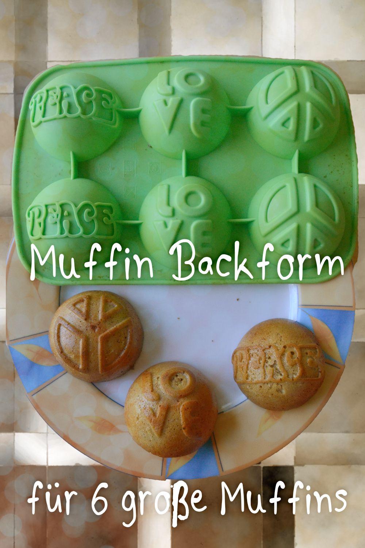 Silikonbackform für Muffins, 6 Form mit Peace, Love und