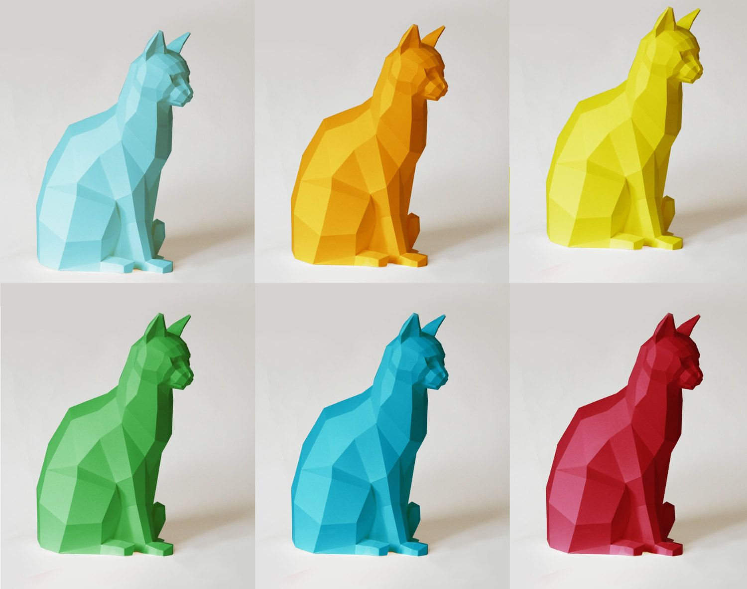 Sitting cat papercraft kit many colors available papercraft and etsy