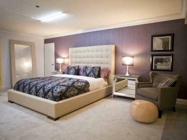 schlafzimmer gestalten tapete-flieder-idee-creme-bett-komfort ...