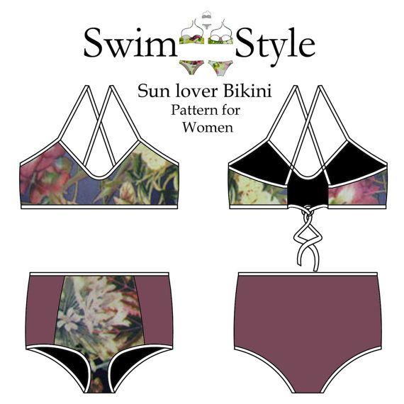 Women s High waist & low waist Sun lover sewing pattern by Swim ...