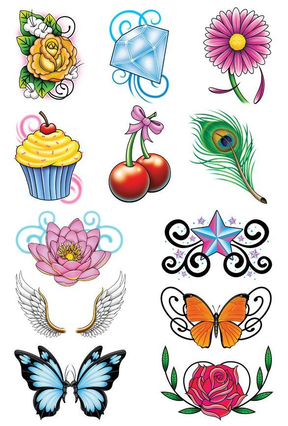 whimsical mix temporary tattoo set glamour fancy and feathers. Black Bedroom Furniture Sets. Home Design Ideas