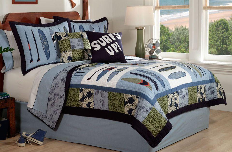 Surf Wave Quilt Boys Bedding Set Queen Full Or Twin Surf Bedding Boys Bedding Sets Beach Bedding Sets
