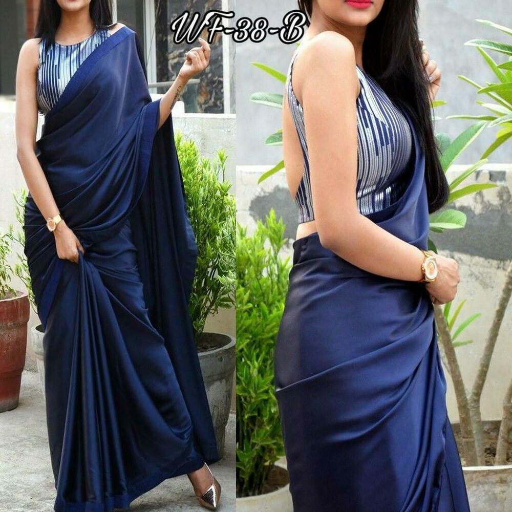 Blue Indian Bollywood Style Printed Satin Silk Saree Party Wear Sari Dress TOP
