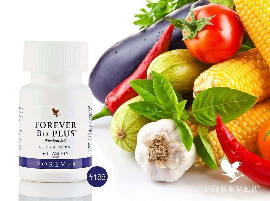 فوريفر B12 Code 188 يتحد فيتامين B12 مع حمض الفوليك اسيد لتحفيز انتاج كريات الدم الحمراء وتحسين Vegetable Nutrition Vegetarian Diet Healthy Chicken Recipes
