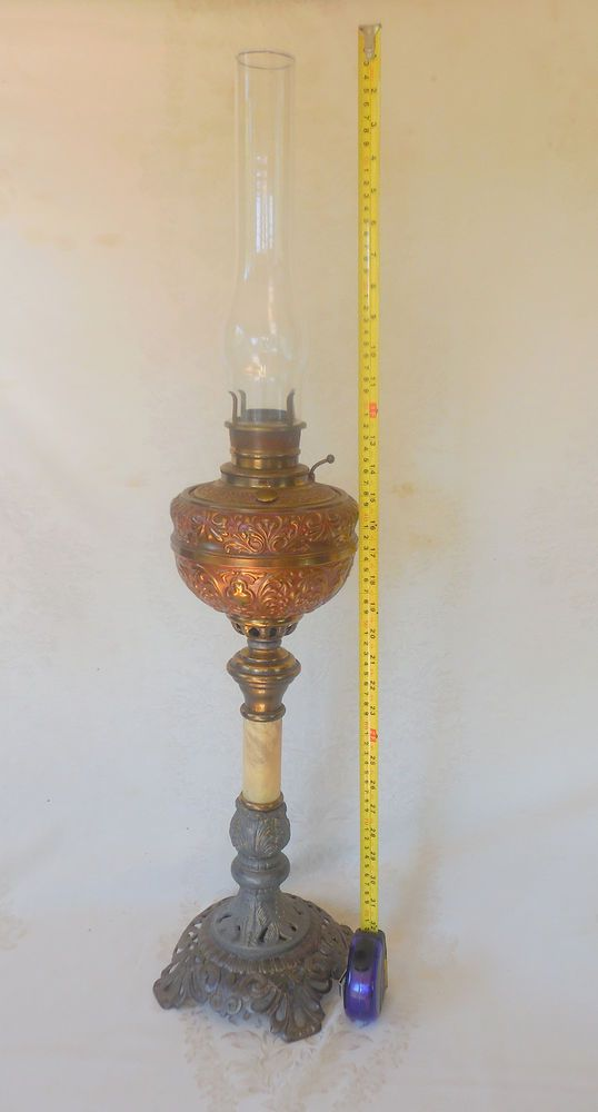 Antique tall table oil lamp brass marble ornate 35 w chimney heavy antique tall table oil lamp brass marble ornate 35 w chimney heavy aloadofball Choice Image