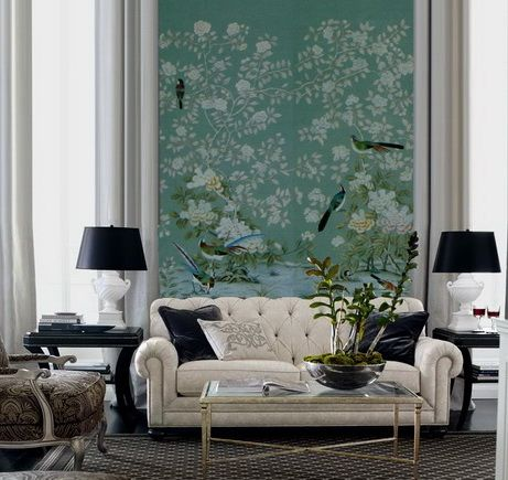 Modern Sitting Room With Handpainted Chinoiserie Wallpaper Decor