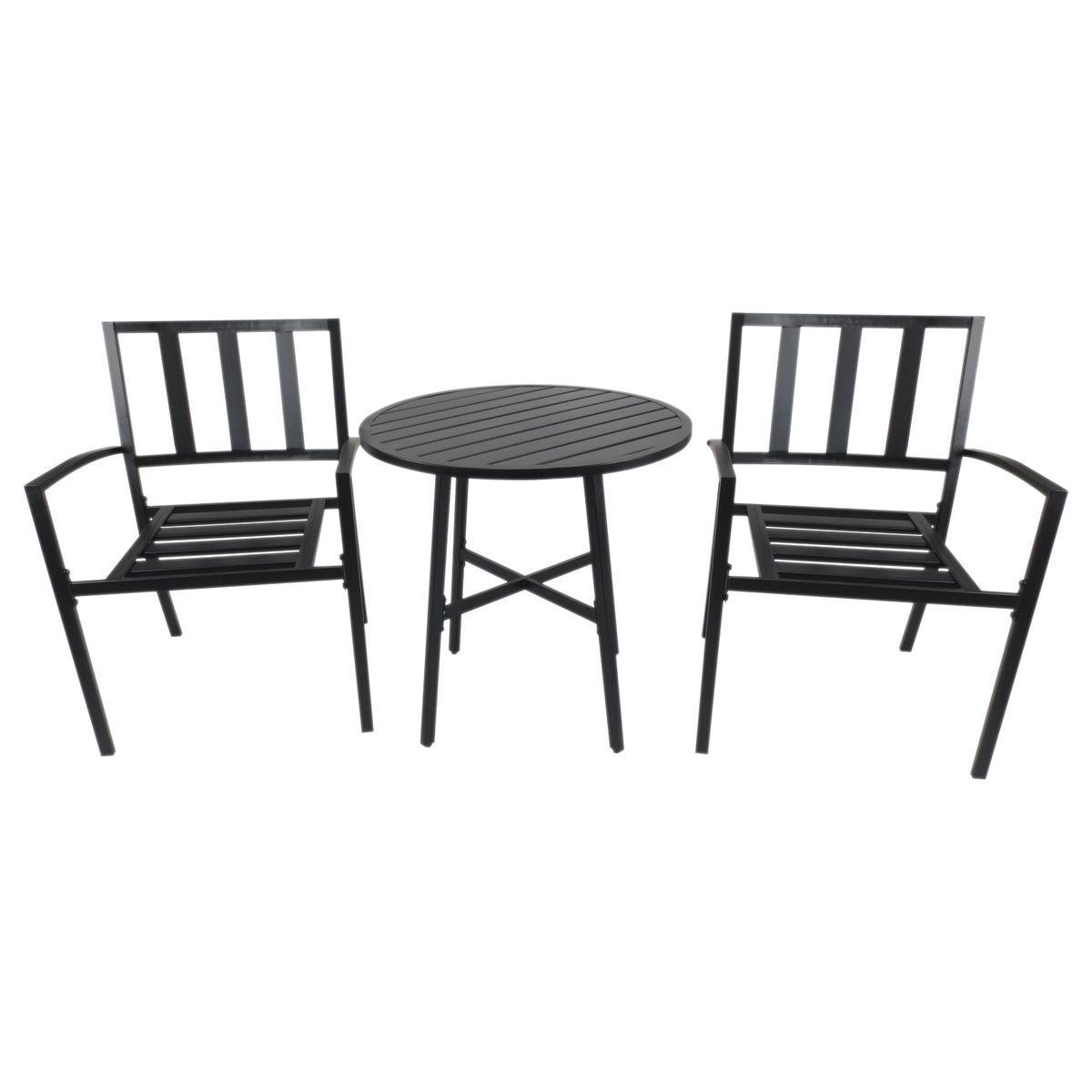 Salon De Jardin Bistrot 2 Pers. + Table Ronde Métal Époxy Noir ...