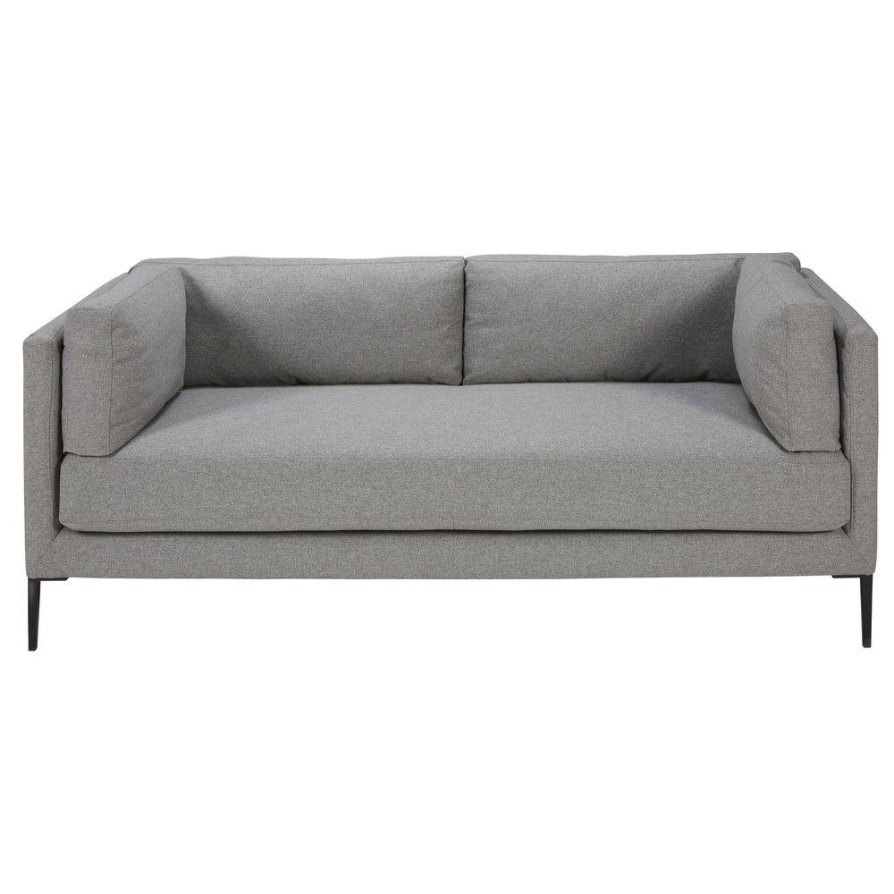 Canapé 3 places en tissu gris clair MAISON Pinterest