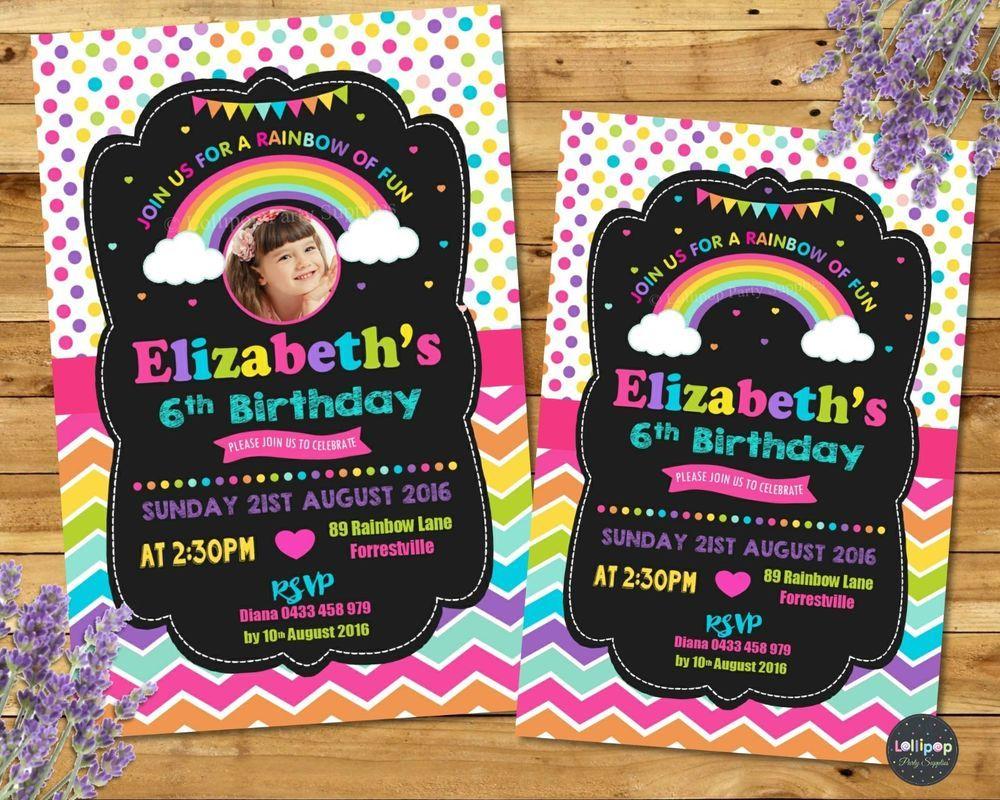 Rainbow invitations personalised invites birthday party supplies ...
