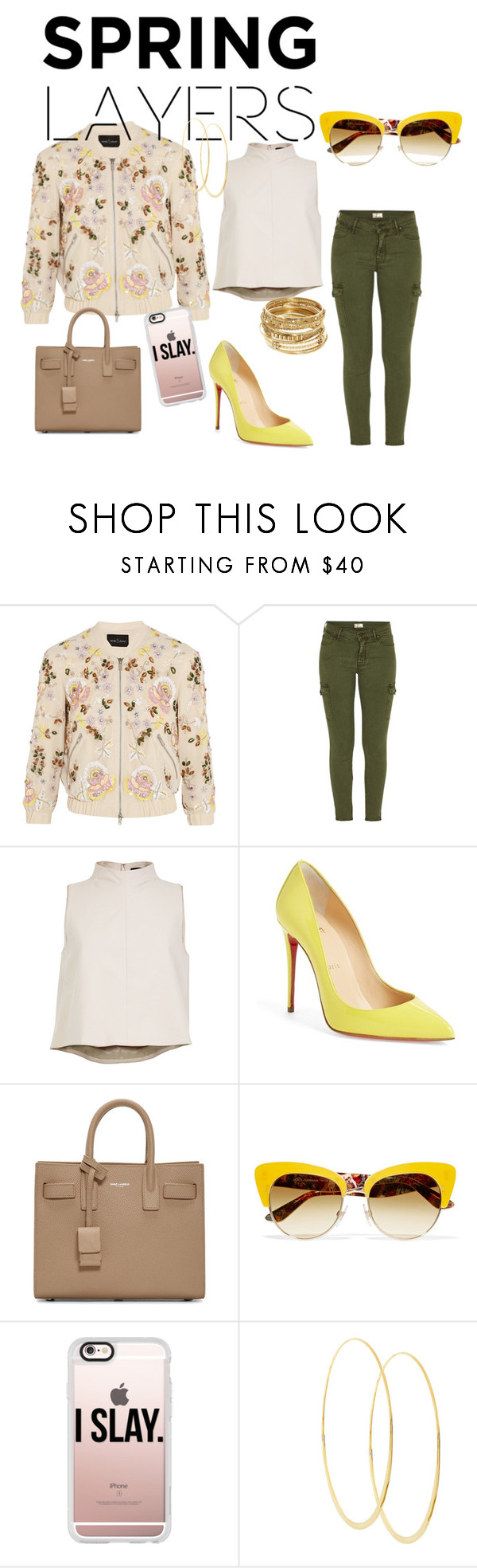 """""""Spring layers"""" by sidne-alexander ❤ liked on Polyvore featuring Needle & Thread, Mother, TIBI, Christian Louboutin, Yves Saint Laurent, Dolce&Gabbana, Casetify, Lana and ABS by Allen Schwartz"""