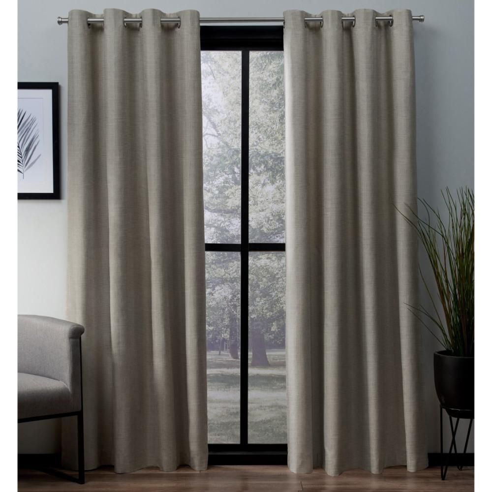 Amalgamated Textiles London 54 In W X 84 In L Woven Blackout Grommet Top Curtain Panel In Beige 2 Panels Curtains Home Curtains Drapes Curtains