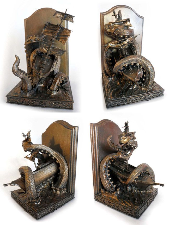 Kraken Bookends Limited Edition by Dellamorteco on Etsy, $250.00