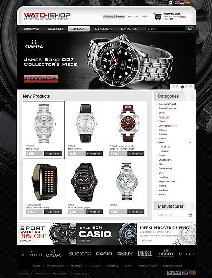 Watch Store 2.3ver website template | Ziyaret edilecek yerler ...