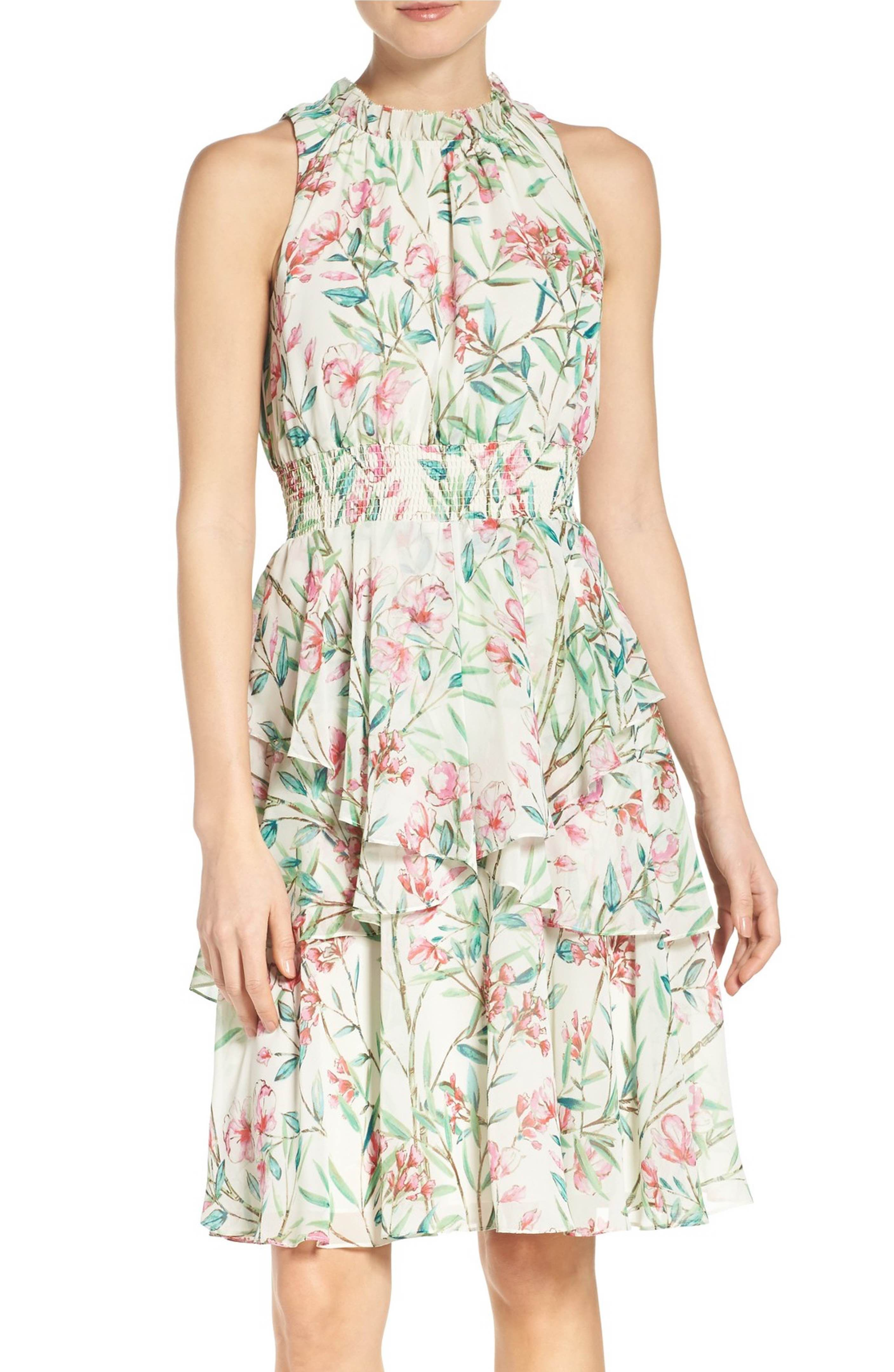 Main image eliza j chiffon fit u flare dress dressing up