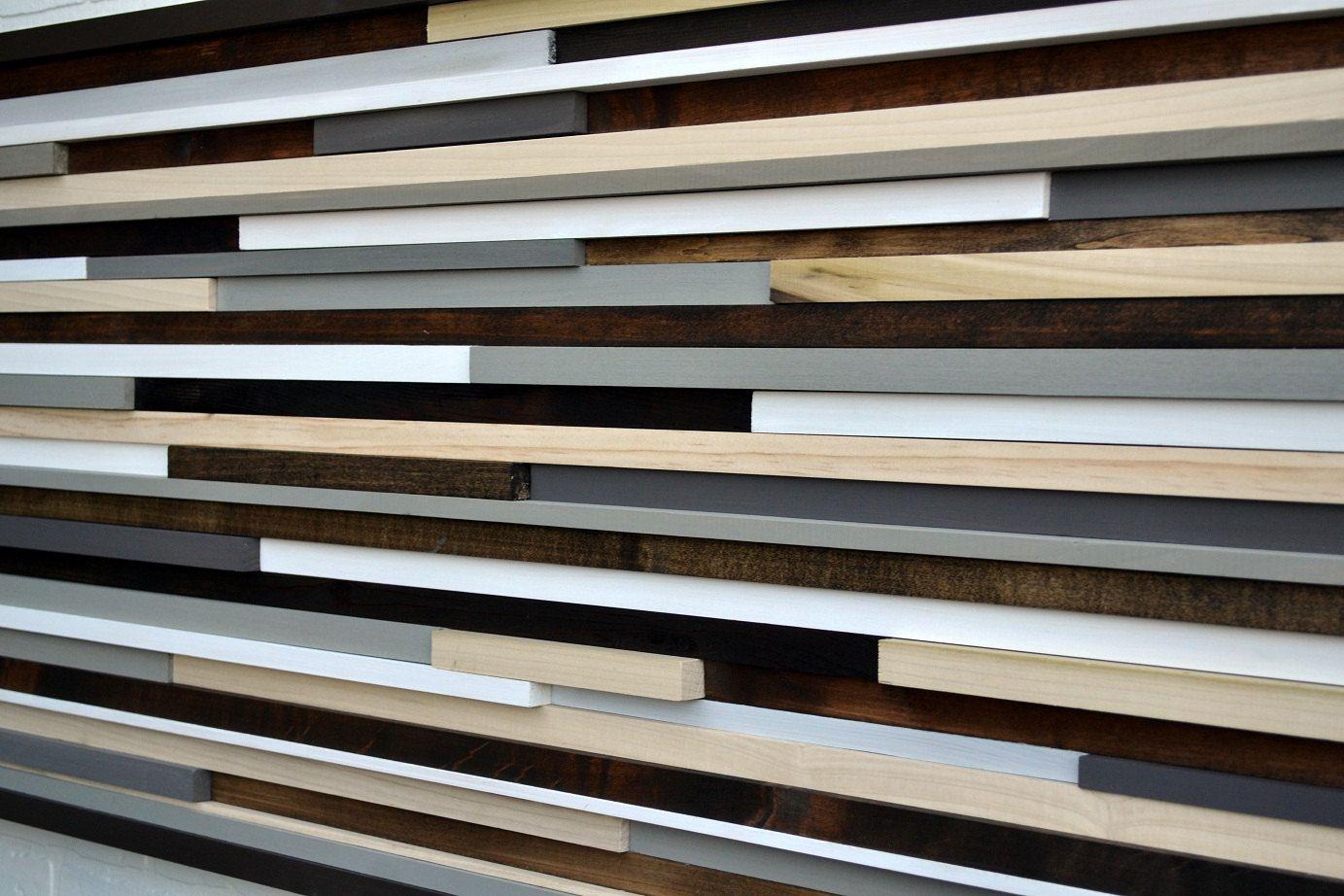 Horizontal Line Art : Wood sculpture queen headboard wall art