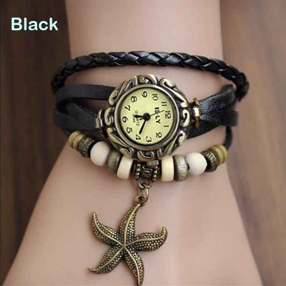 Mini Lovely Casual Watch Women Ladies Vintage Faux Leather Bracelet Starfish Decoration Quartz Wrist Watch for Girl