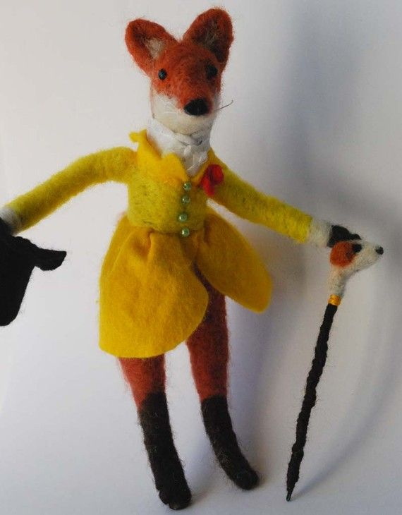 Needle felted Foxy Gentleman in Yellow Frock Coat by MissBumbles