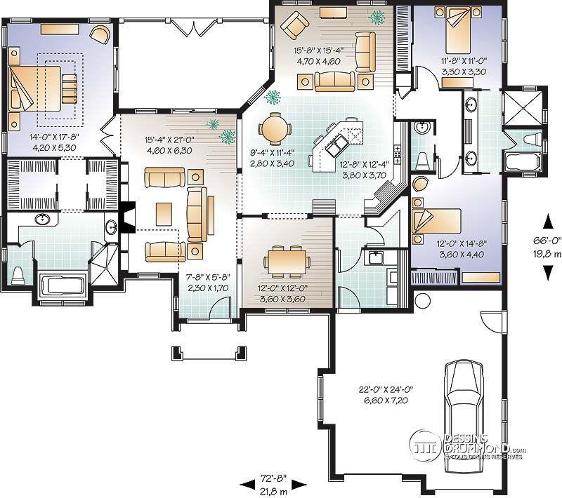 Détail du plan de Maison unifamiliale W3253 maison2 Pinterest