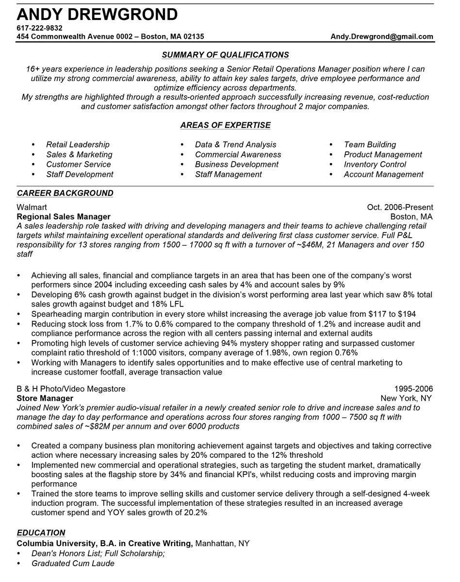 how to write a quality sales manager resume - Retail Sales Manager Resume Samples