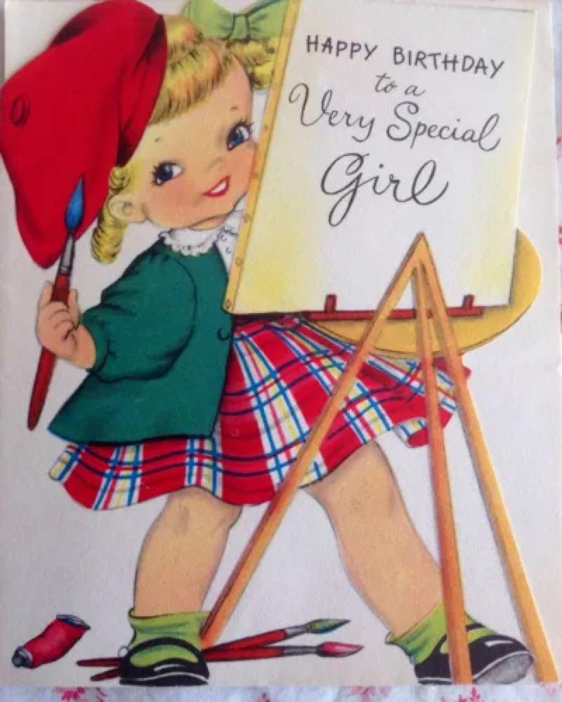 Vtg 1940s Birthday Card W Little Girl Artist In Plaid Dress Red Beret Vintage Birthday Cards Vintage Birthday Kids Birthday Cards