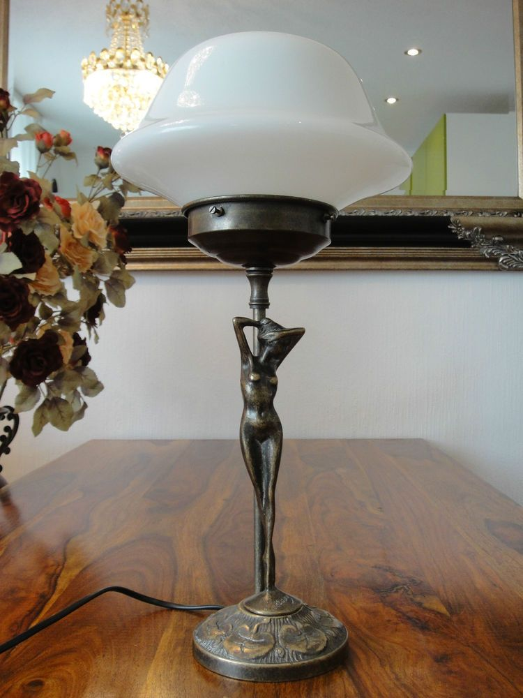details zu tischlampe jugendstil antik tischleuchte jungfrau pilz lampe messing glas edel. Black Bedroom Furniture Sets. Home Design Ideas