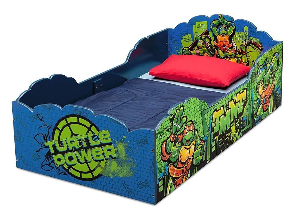 Toddler Bed W Safety Rails Ninja Turtles Design Children Wood Bedroom Furniture Teenagemutantninjat Ninja Turtle Bedroom Ninja Turtle Room Wooden Toddler Bed