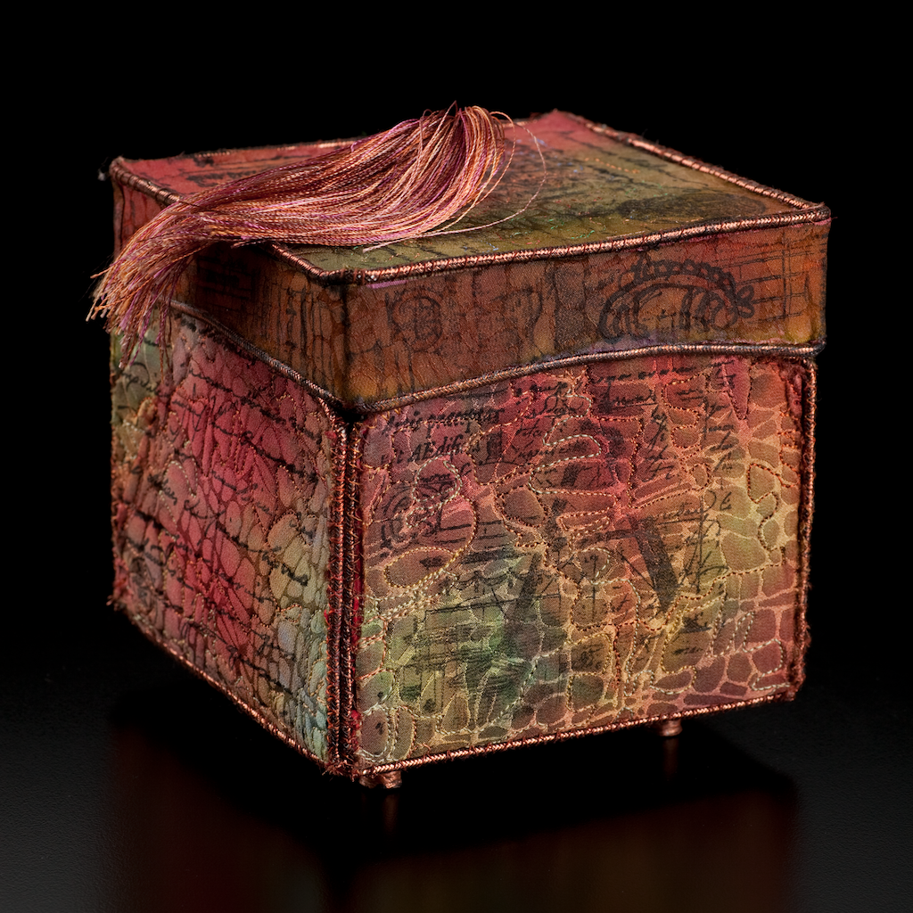 'Bento Box'  Dyed Silk, stitched,stamped.