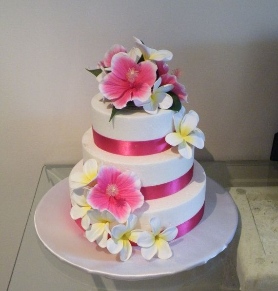 frangipani wedding cake toppers hibiscus and plumeria cake topper by abloomortwo on etsy 14446