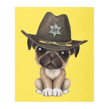 Cute Pug Puppy Dog Sheriff Metal Print Zazzle Com Cute Pug