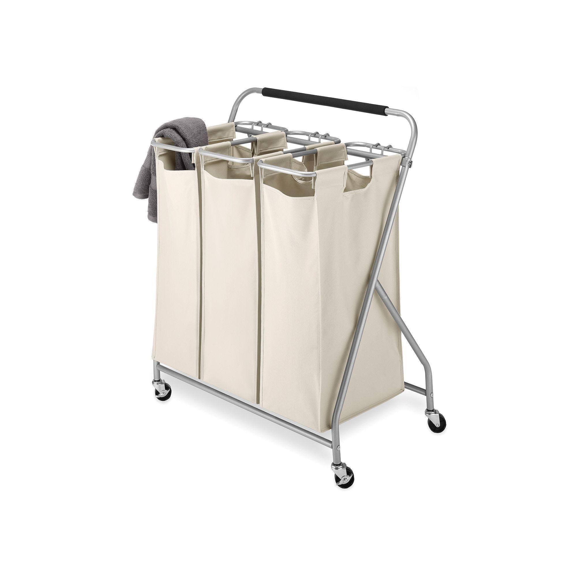 whitmor triple sorter rolling laundry cart beiggreen beigkhaki