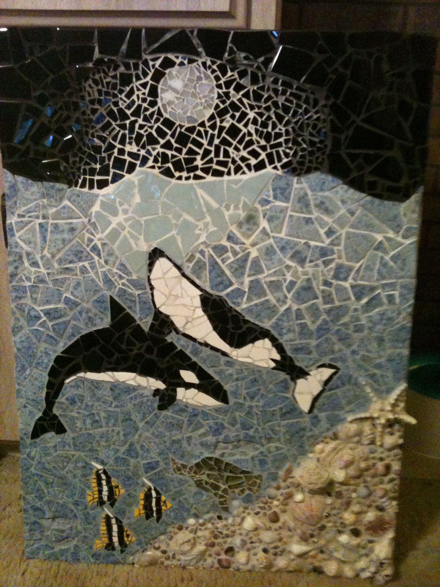 Whales for Leah Moose art, Mosaic, Art