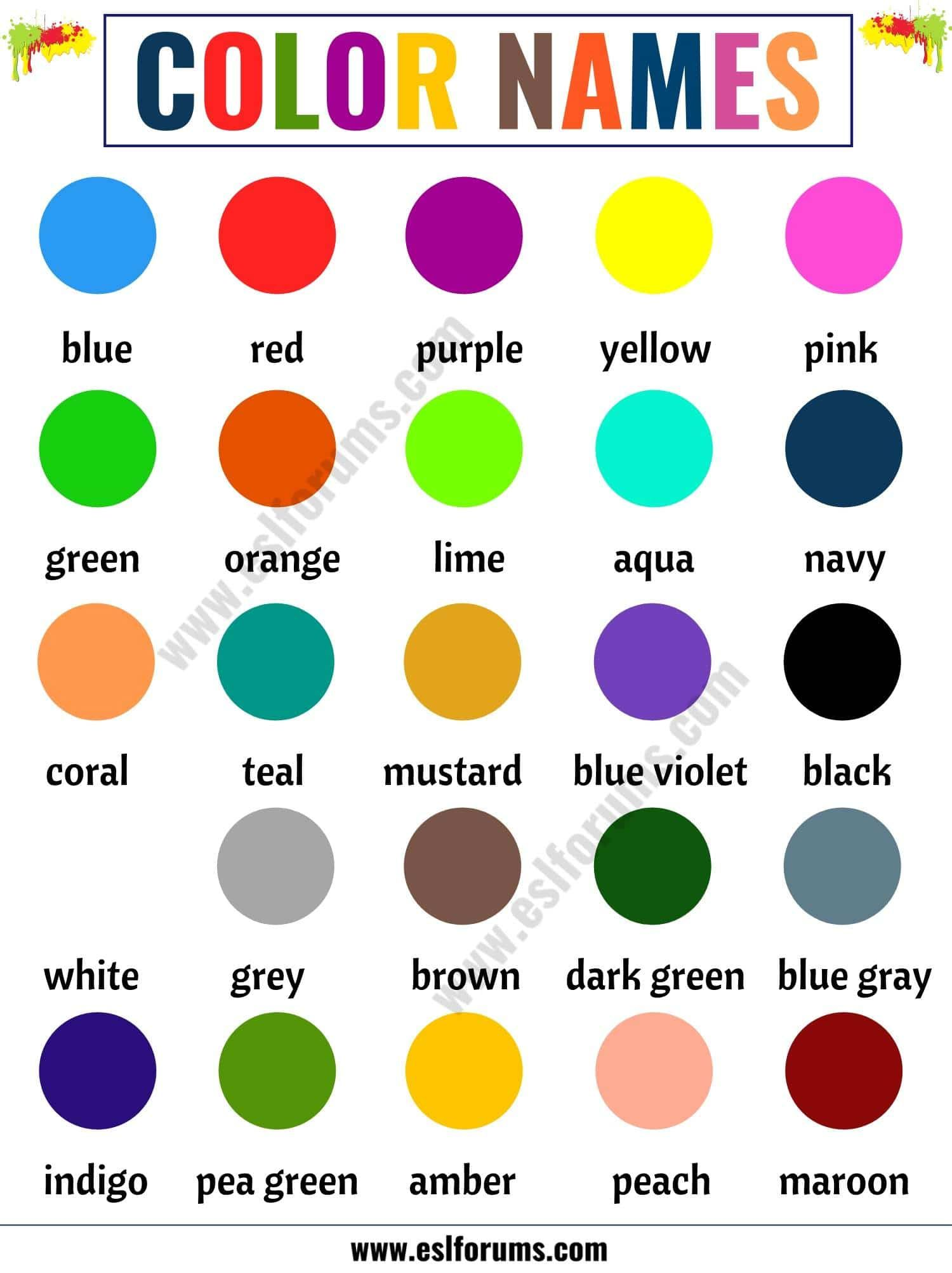 Color Names List Of Colors In English With The Picture