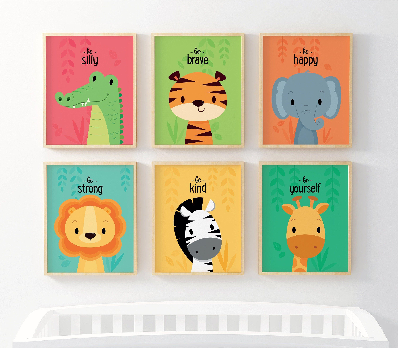 Kids Wall Art Nursery Wall Art Colourful Nursery Prints Safari Nursery Animal Nursery Jungle Animal New Baby Gift Neutral Nursery Art Art Wall Kids Neutral Nursery Art Animal Wall Art Nursery