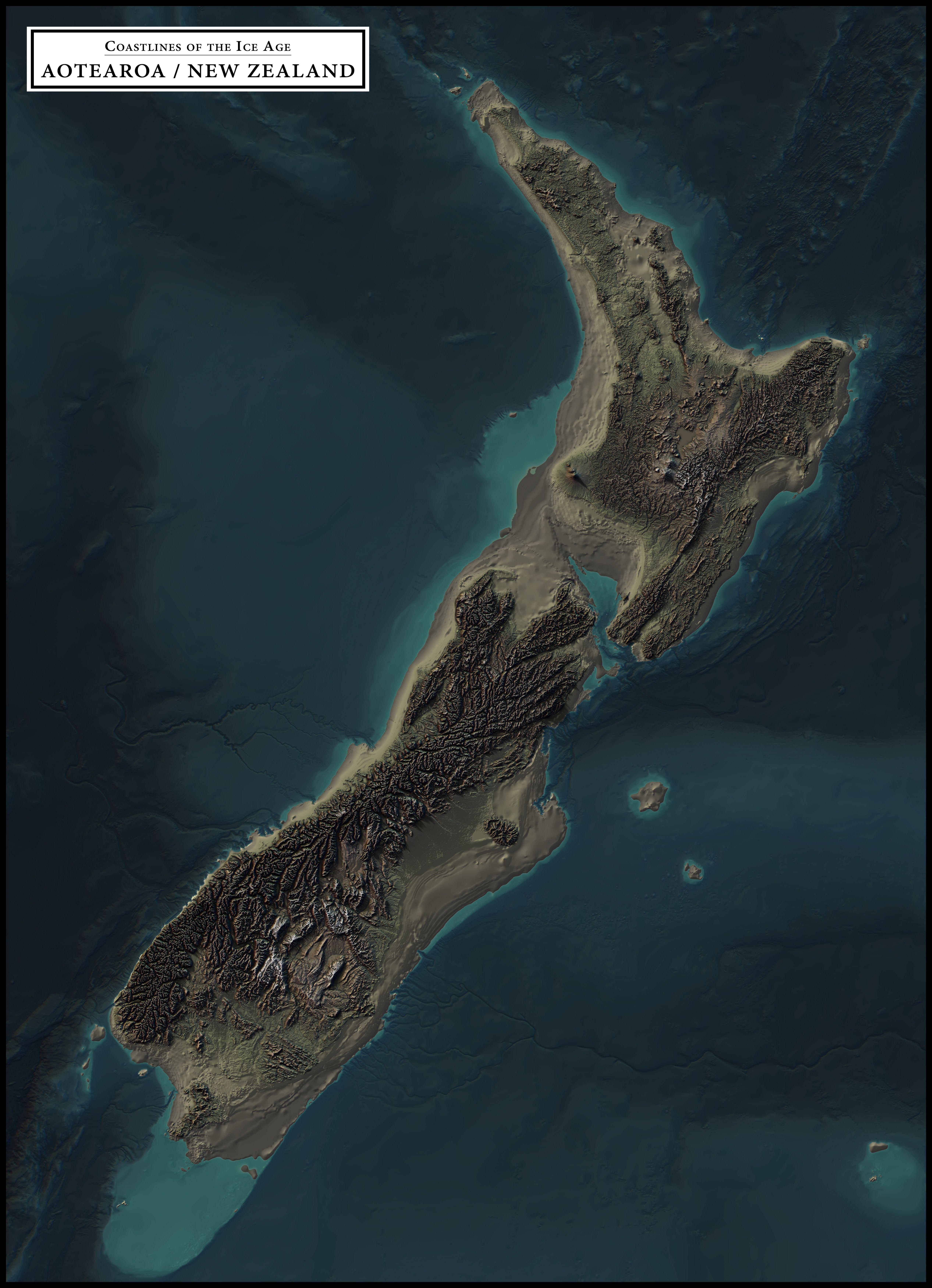 Coastlines Of The Ice Age Aotearoa New Zealand Mapmania
