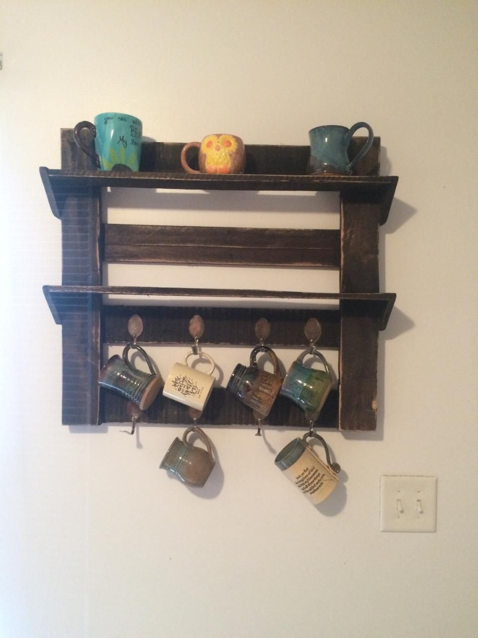 Pallet Coffee Cup Holder Widen And Add A Surround To The Bottom Shelf Put Nice Gl French Press There