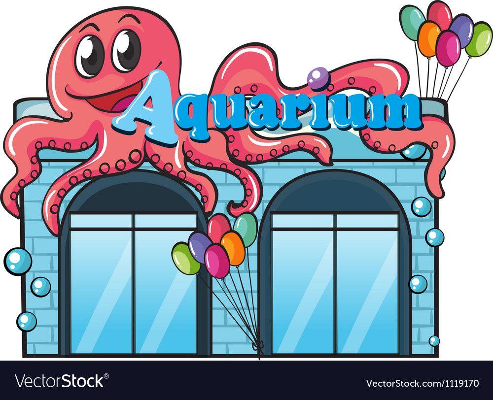 Aquarium and octopus vector image on VectorStock | Vector ...