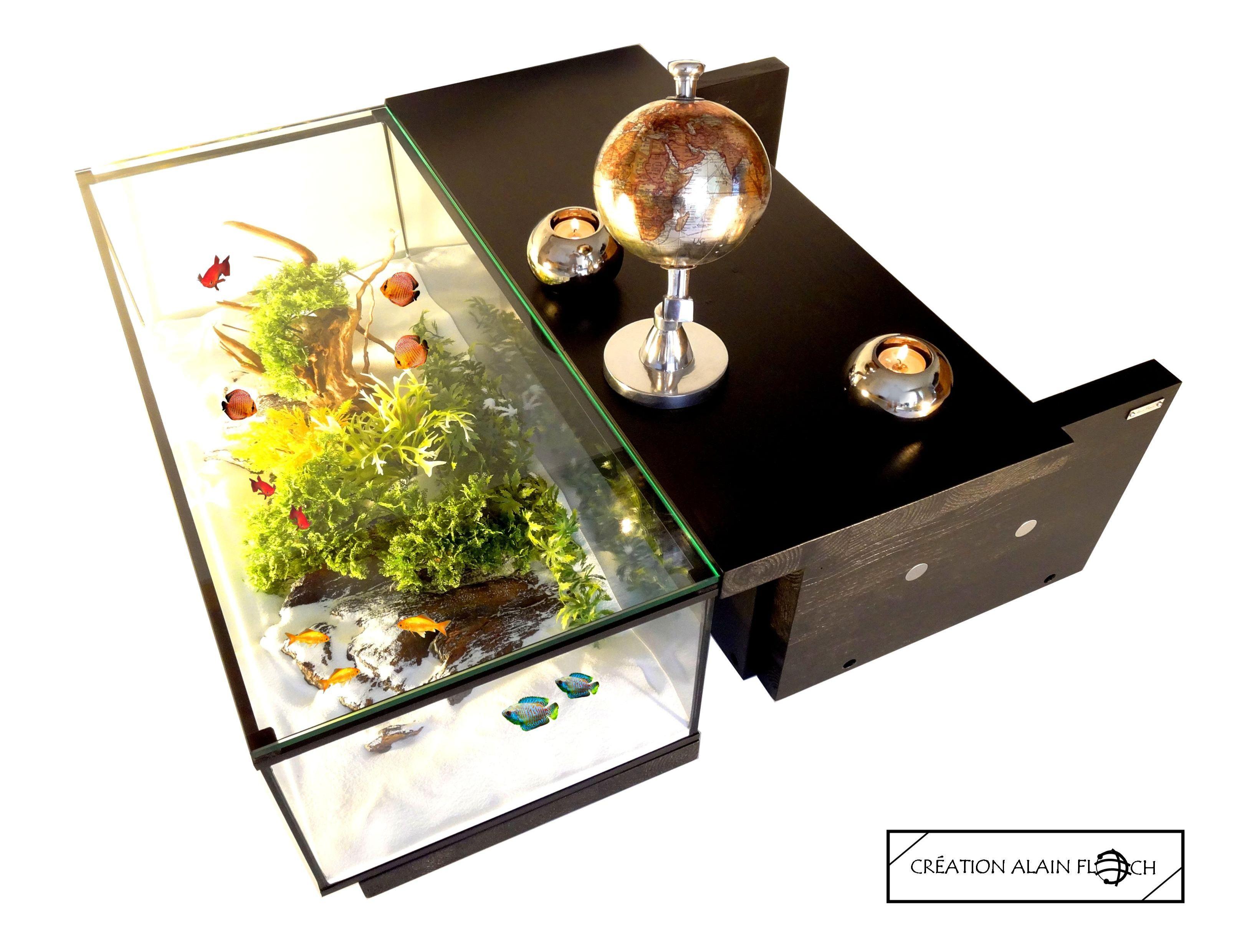 Table Basse Grand Salon table basse design voyage avec grand aquarium 80 cm - 40 led