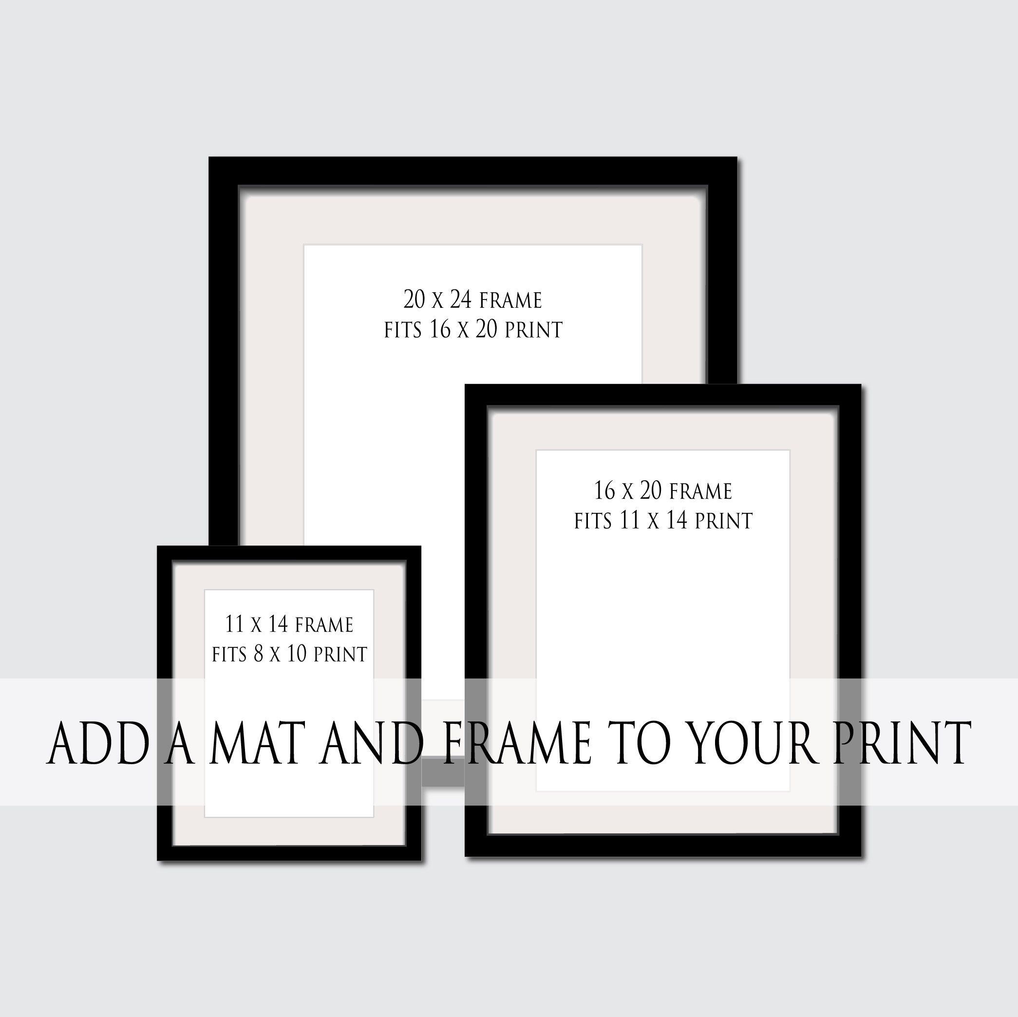 Add A Frame Mat To Any Print Custom Frame Farmhouse Frames 11 X 14 16 X 20 20 X 24 100 Solid Wood Frame Frame And Mat Add On Frame Frame Matting Custom Framing
