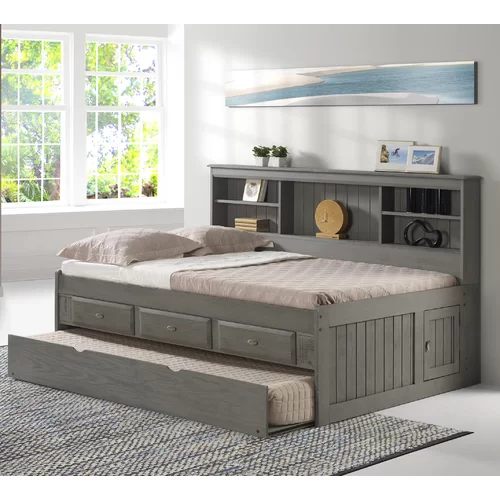 Gilbertson Charcoal Bookcase Daybed With 3 Drawers And Trundle In